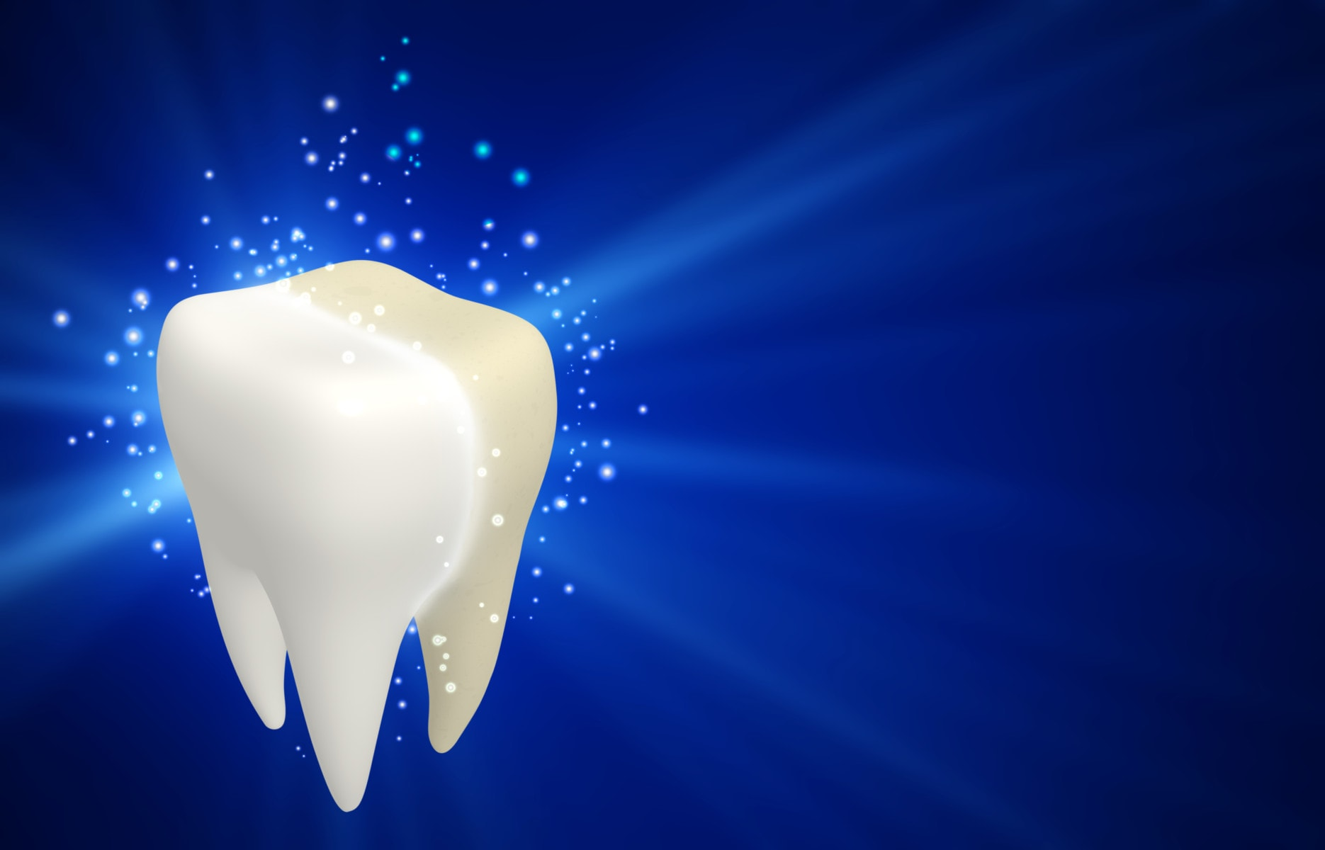 Cleaning tooth process. One human tooth and magic sparks around on blue background. 3d render